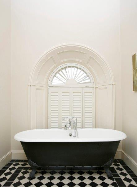 Bathroom shutter with shape