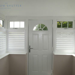 Cafe shutter Seattle Pure White 76mm hidden tilt box bay window porch modern house Uckfield 1 0317