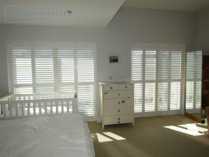 Full height mid rail shutter Boston Premium Pure White 63mm hidden tilt control bedroom modern house Brighton 1 0616