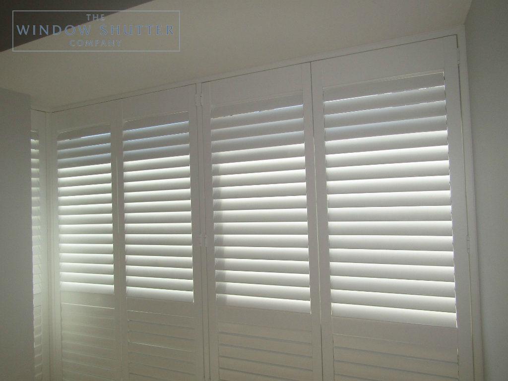 Full height mid rail shutter Boston Premium Pure White 63mm hidden tilt control bedroom modern house Brighton 4 0616