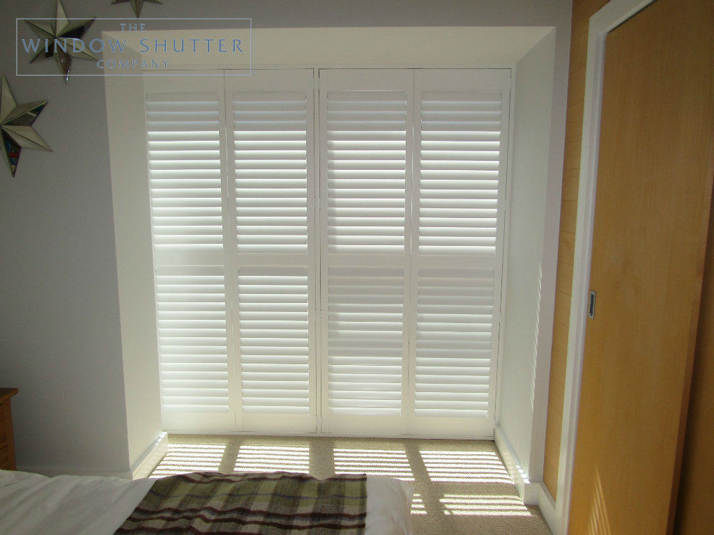 Full height mid rail shutter Boston Premium Pure White 63mm hidden tilt control bedroom modern house Brighton 5 0616