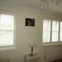 Full height shutter Seattle Silk White 63mm hidden tilt lead light window lounge Burgess Hill 2 0616