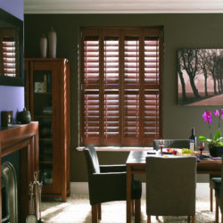 Window, plantation, colonial, indoor, interior, wooden shutters dining room