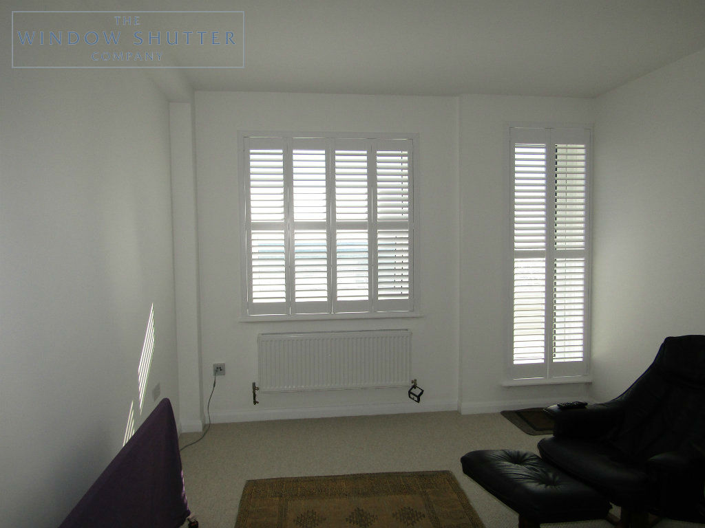 Full height shutter Seattle hidden tilt lounge living room seafront apartment St Leonards-on-Sea, East Sussex after