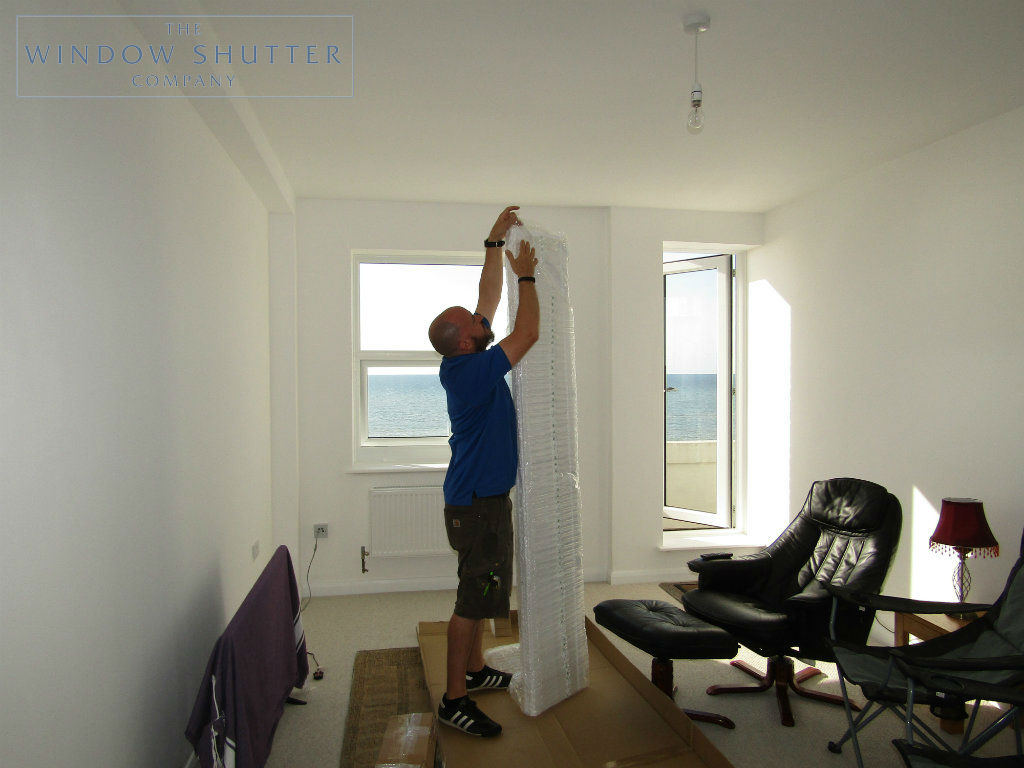 Full height shutter Seattle hidden tilt lounge living room seafront apartment St Leonards-on-Sea, East Sussex before