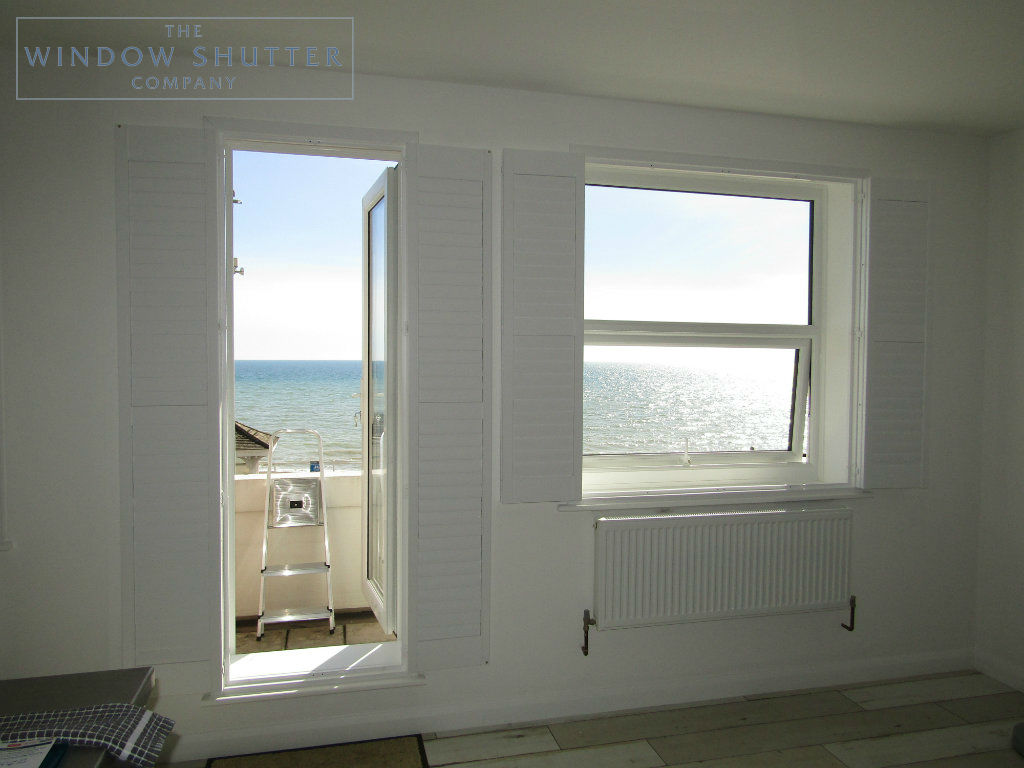 Full height shutter Seattle hidden tilt lounge living room seafront apartment St Leonards-on-Sea, East Sussex folded back 2