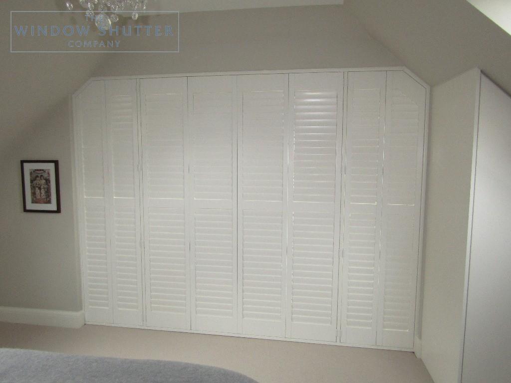 Hidden tilt control mechanism french doors full height shutters, Upper Beeding, closed