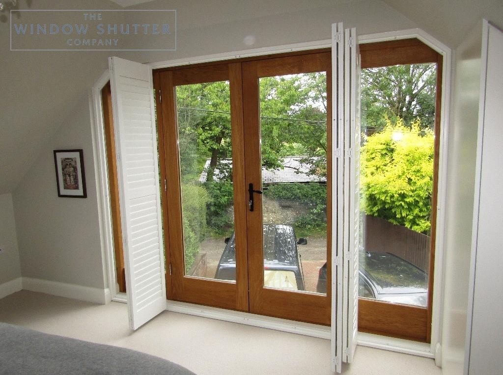 Hidden tilt control mechanism french doors full height shutters, Upper Beeding, shutters open