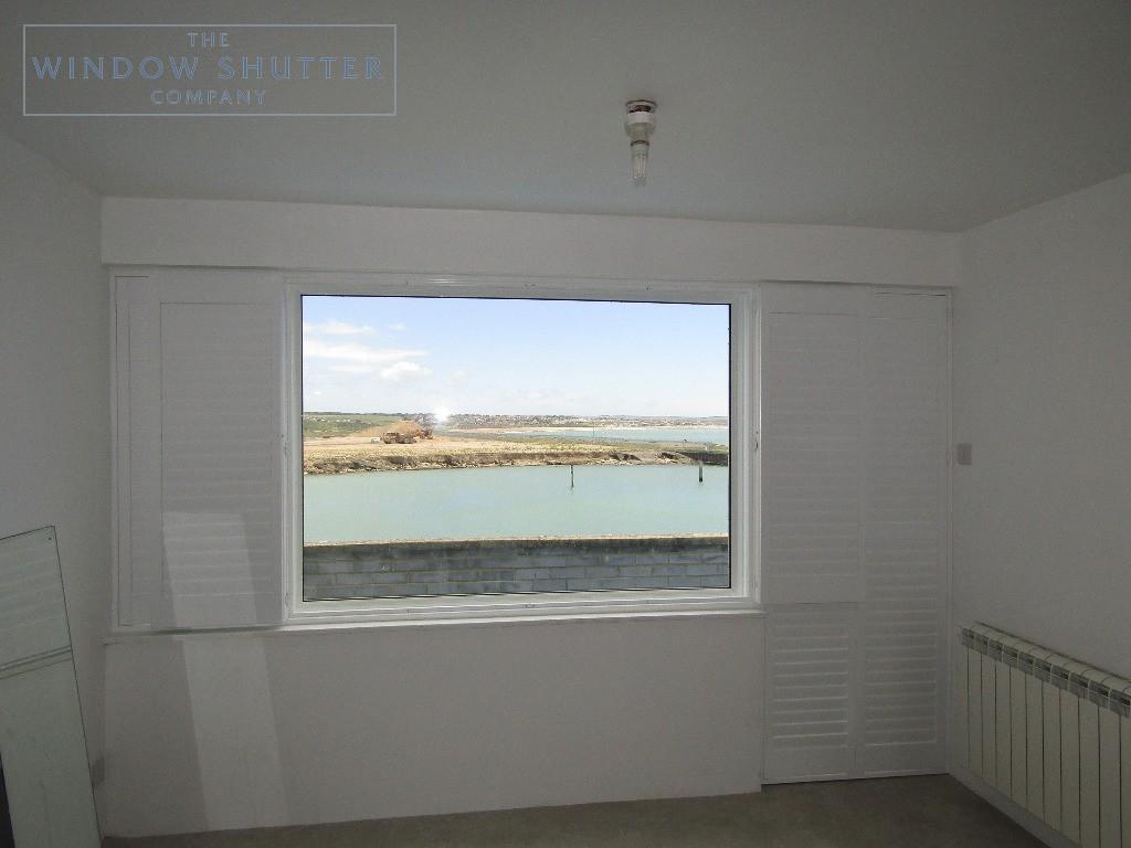 Hidden tilt control mechanism full height shutters, Newhaven, shutters open and closed