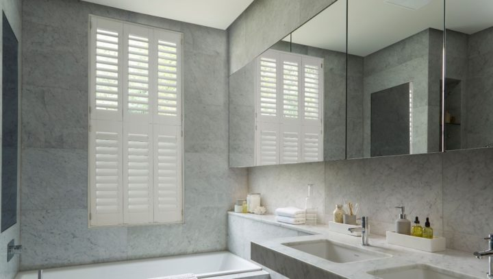 Bathroom waterproof window shutters tier on tier, closed