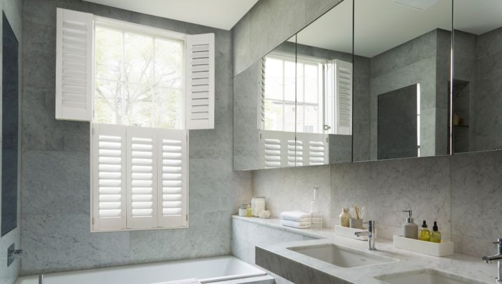 Bathroom waterproof window shutters tier on tier, open