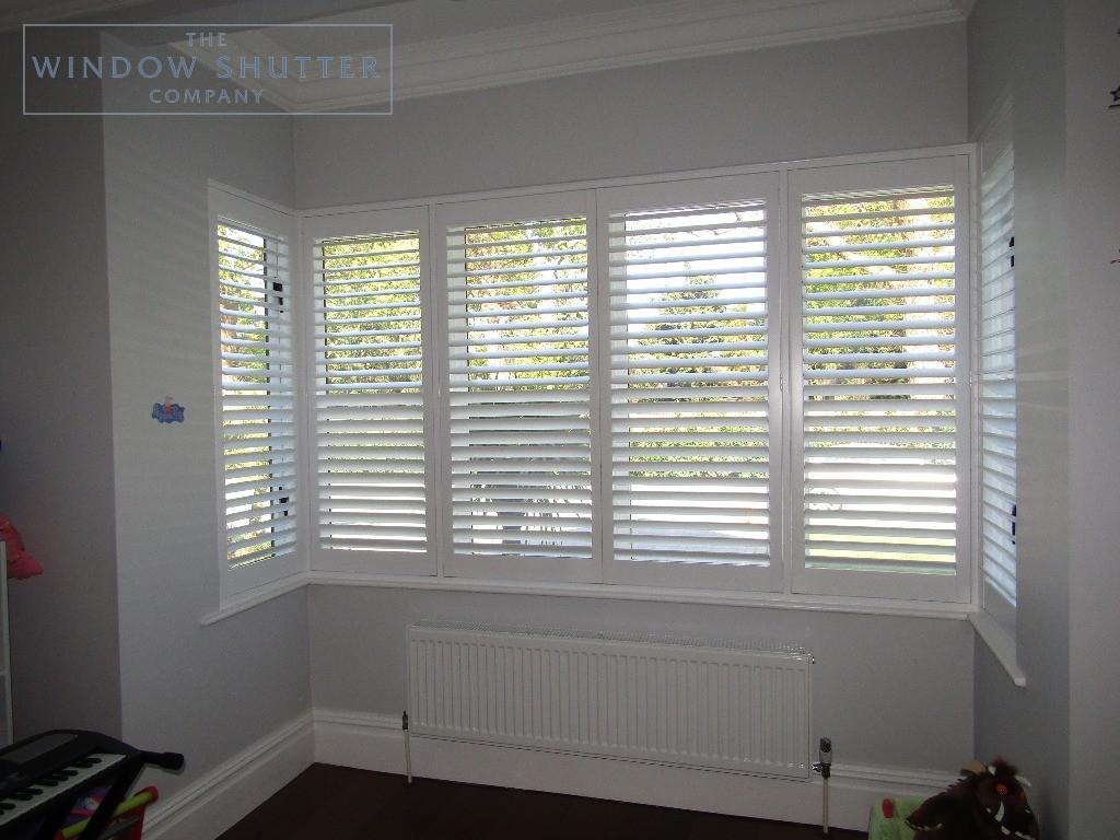 Full height shutters Boston Premium hardwood, in Pure White, box bay window, in Esher, Surrey