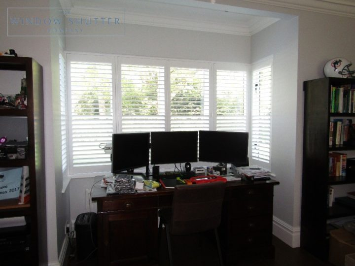 Full height shutters Boston Premium hardwood, in Pure White, box bay window, in Esher, Surrey