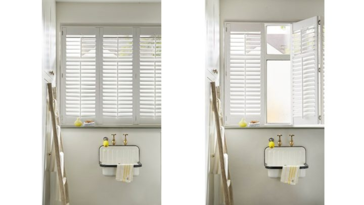 Bathroom waterproof window shutters full height, closed and open