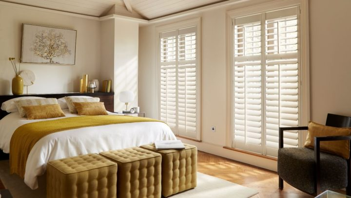 Bedroom Seattle Silk White window shutters