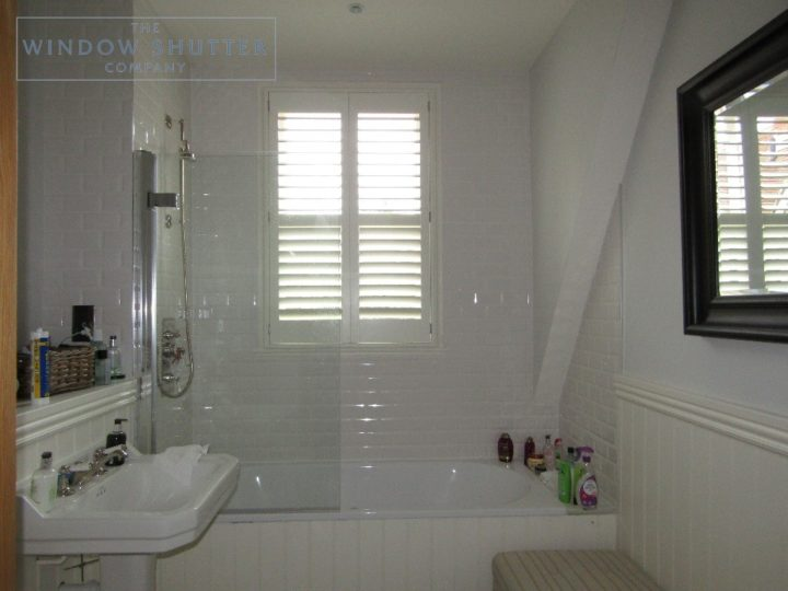 Full height shutters, Hollywood waterproof, Bright White, bathroom, Haywards Heath