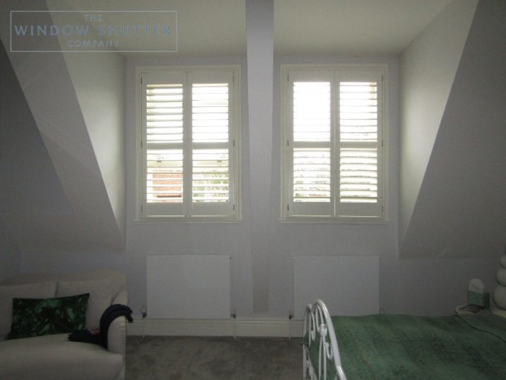 Full height shutters, Seattle, Bright White, bedroom, Haywards Heath
