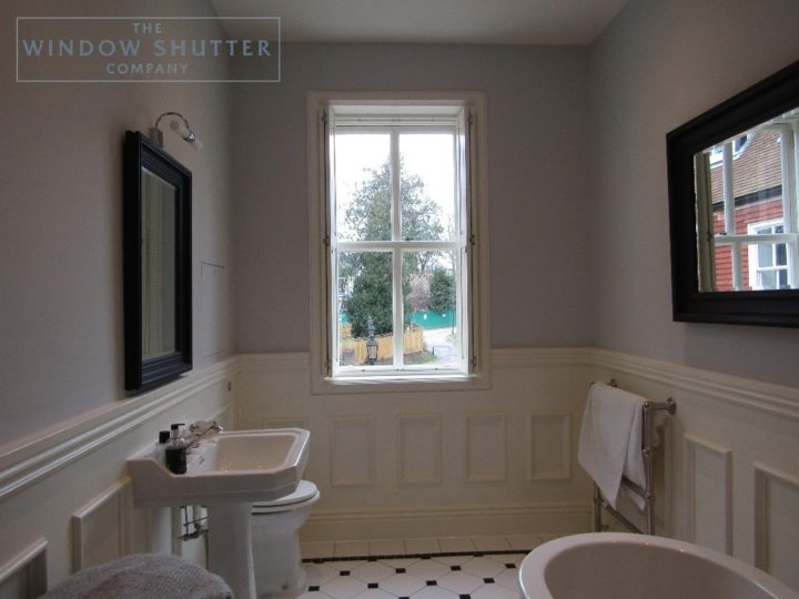 Solid shutters Boston Premium hardwood, Bright White, en-suite bathroom, open, Haywards Heath
