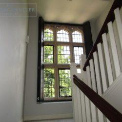 Solid shutters Boston Premium hardwood, Railings, landing window, open, Haywards Heath