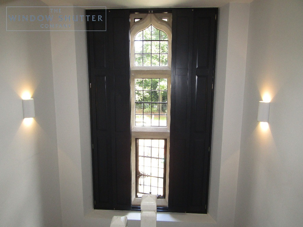Solid shutters Boston Premium hardwood, Railings, landing window, two panels open, Haywards Heath