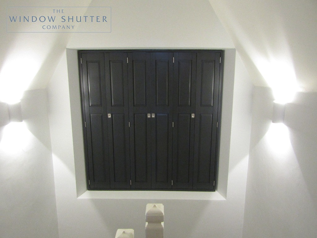 Solid shutters Boston Premium hardwood, Railings, landing window, closed, Haywards Heath