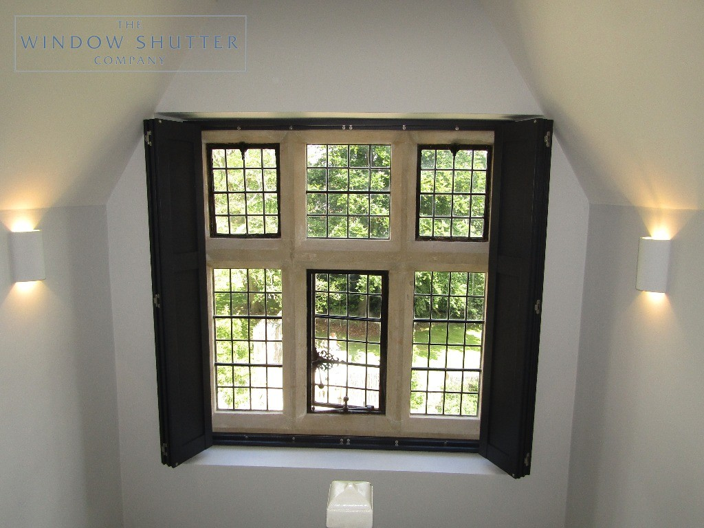Solid shutters Boston Premium hardwood, Railings, landing window, open, Haywards Heath