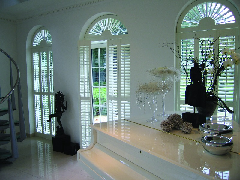 Arched shaped window shutters, sunburst 2