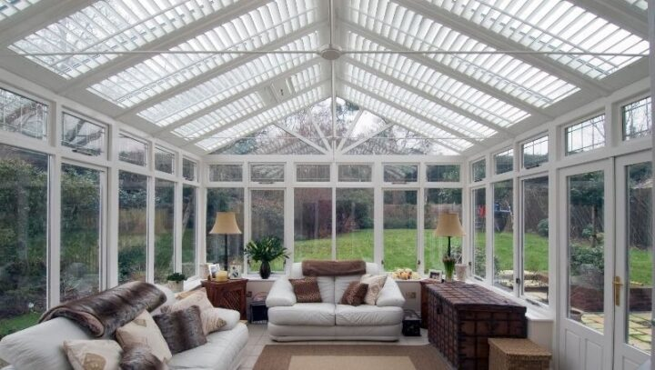 Conservatory roof shutters, Boston Premium hardwood