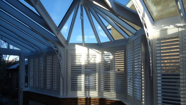 Conservatory shutters, Boston Premium hardwood, open