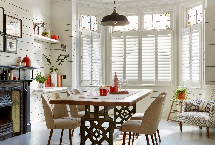 Kitchen-diner shutters, Boston, Extra White