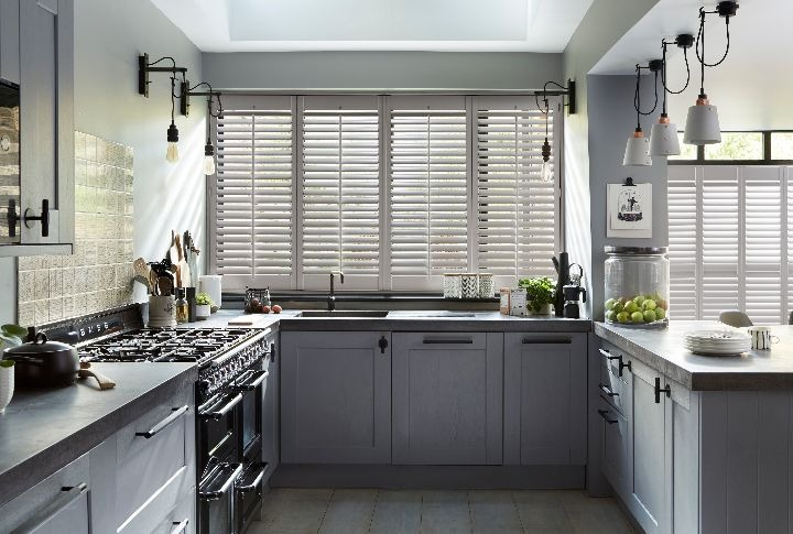 Kitchen-diner shutters, Hollywood, Hall Grey
