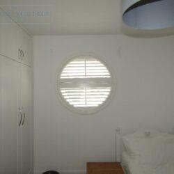 Round porthole shutters, Boston Premium hardwood, bedroom window, Brighton, open