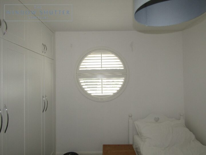 Round porthole shutters, Boston Premium hardwood, bedroom window, Brighton, open