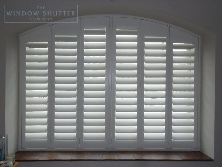 Shaped, arched shutters, Boston Premium hardwood, Bedroom window, Docklands, closed