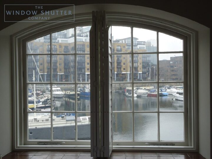 Shaped, arched shutters, Boston Premium hardwood, Bedroom window, Docklands, open