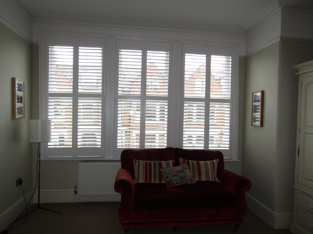 Full height shutters, Seattle, reception room, London, wonky windows, March 2020