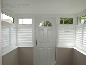 Café Style shutters for box bay windows in porch in Uckfield, East Sussex