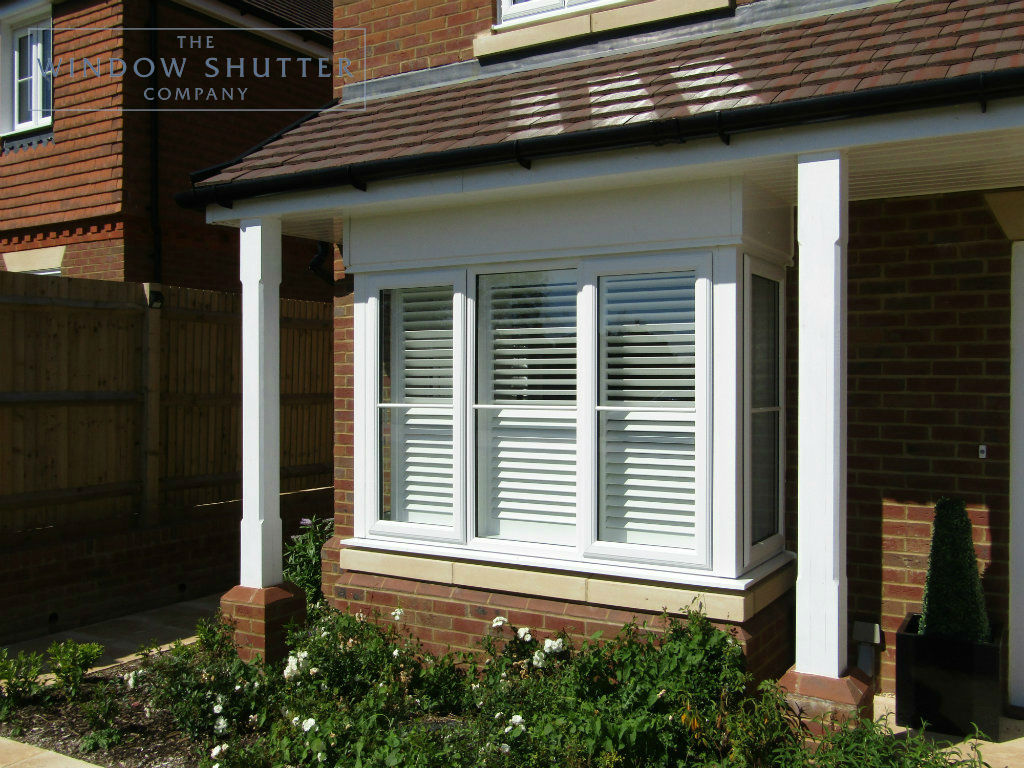 Full height hidden tilt split shutter Boston Premium Pure White 63mm easy tilt box bay window exterior new build Cuckfield 1 0517