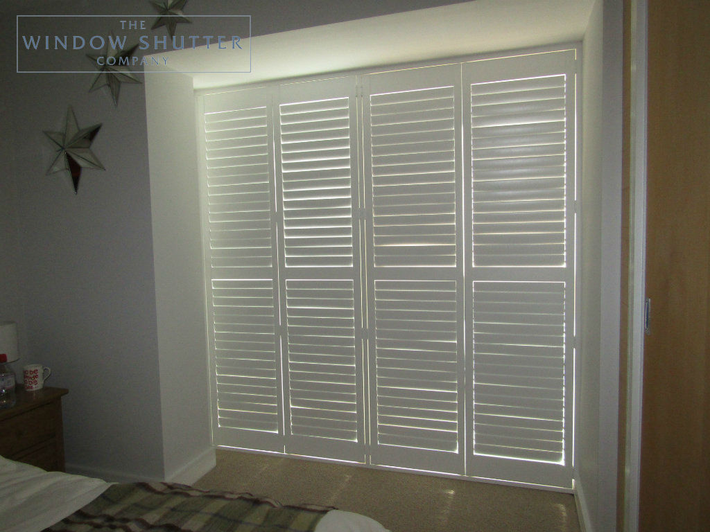 Full height mid rail shutter Boston Premium Pure White 63mm hidden tilt control bedroom modern house Brighton 3 0616