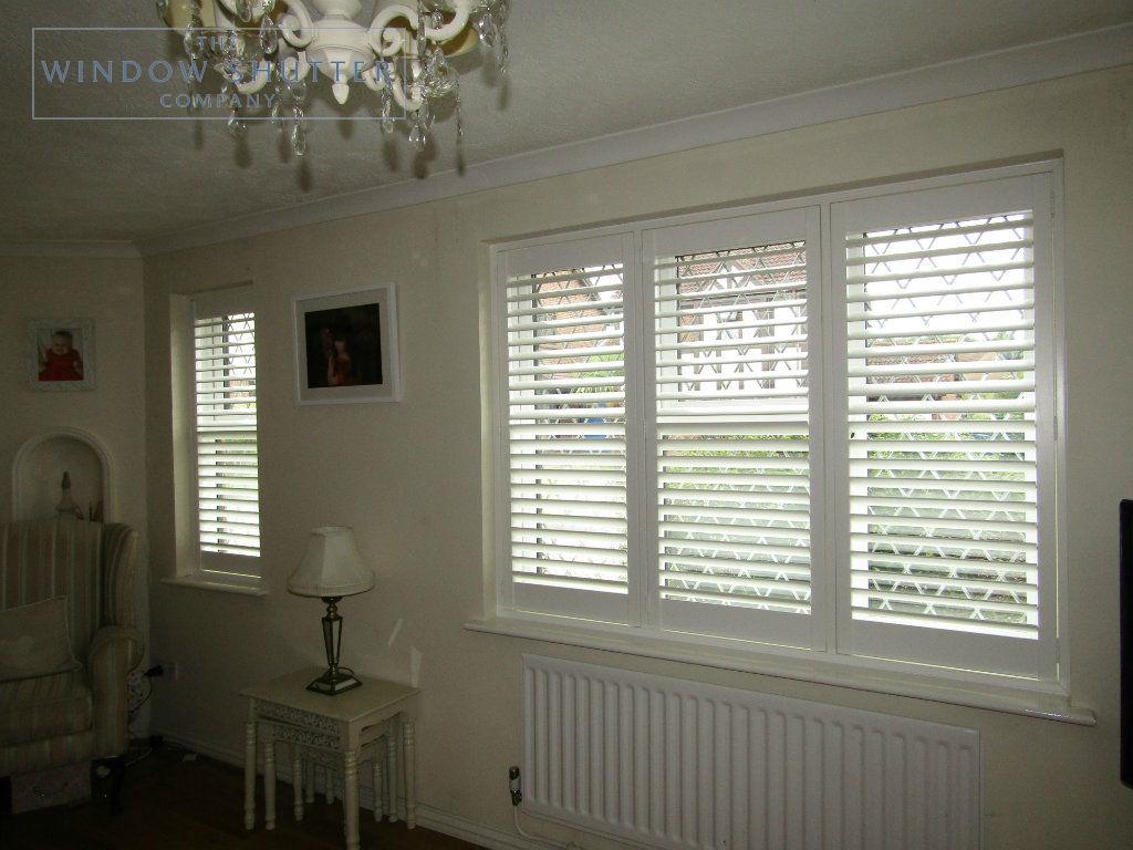 Full height shutter Seattle Silk White 63mm hidden tilt lead light window lounge Burgess Hill 1 0616