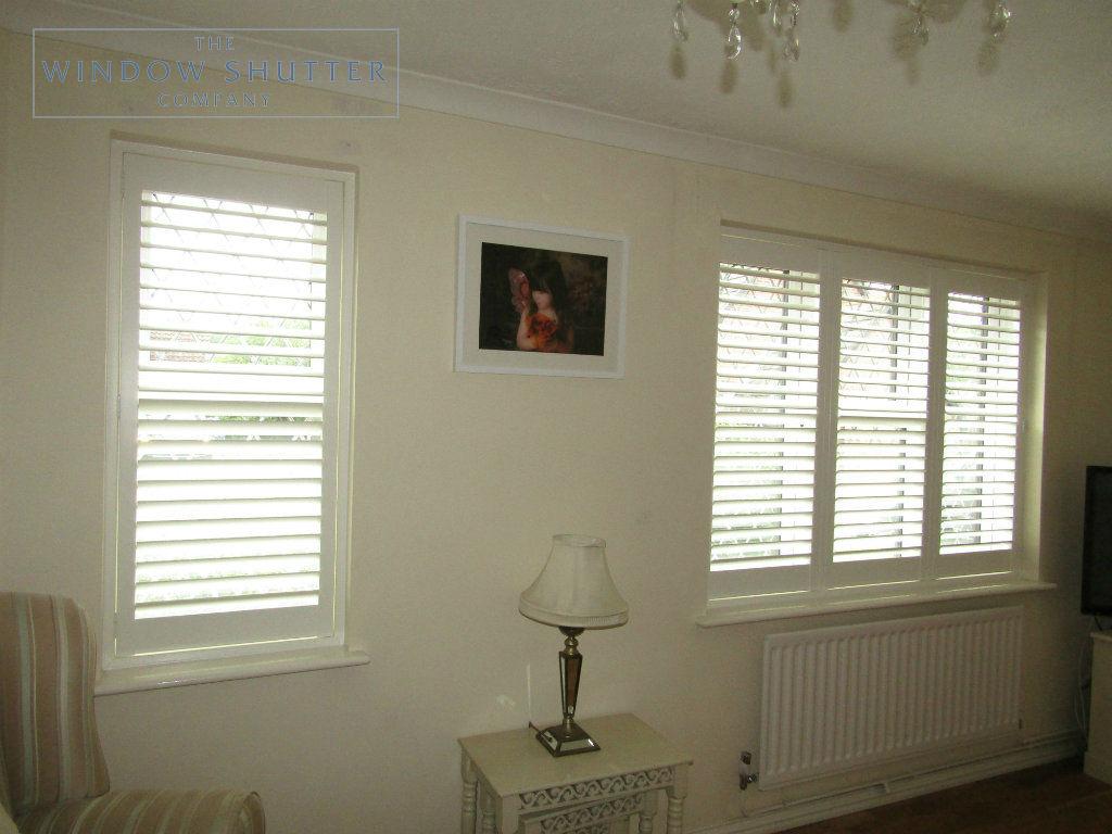 Full height shutter Seattle Silk White 63mm hidden tilt lead light window lounge Burgess Hill 2 0616