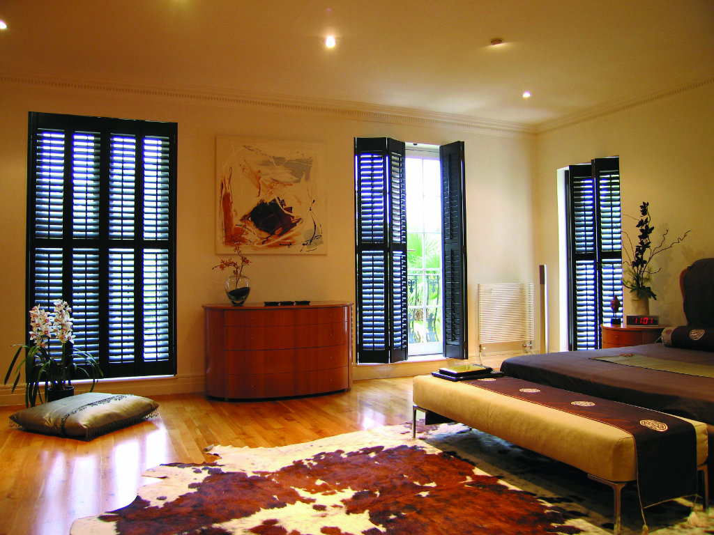 Window, plantation, colonial, indoor, interior, wooden shutters cowhide rug