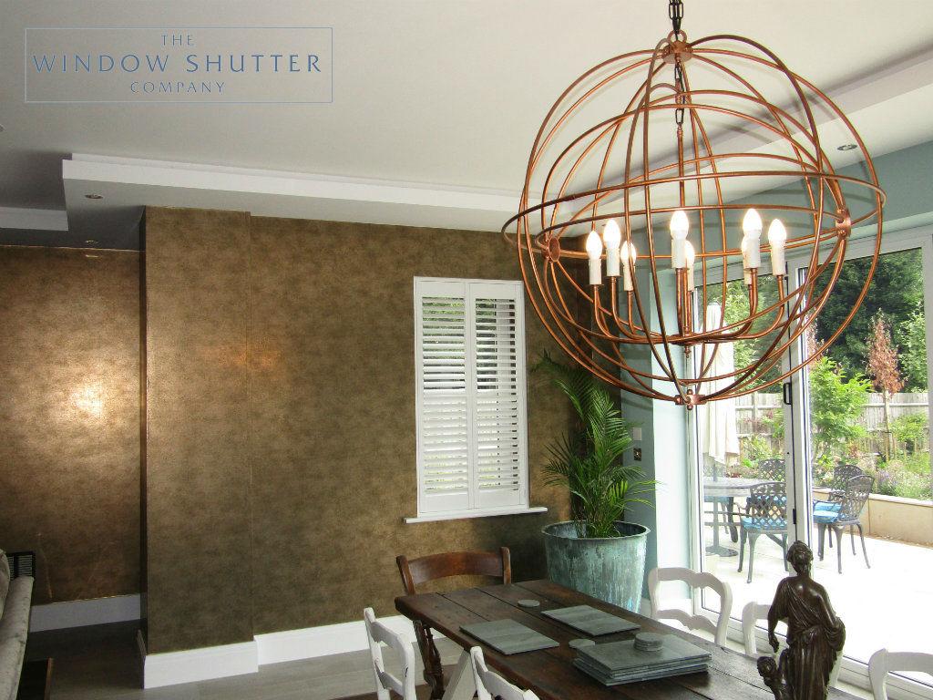 Full height hidden split shutter Boston Premium Pure White 63mm hidden tilt straight window dining room Kingswood 0717