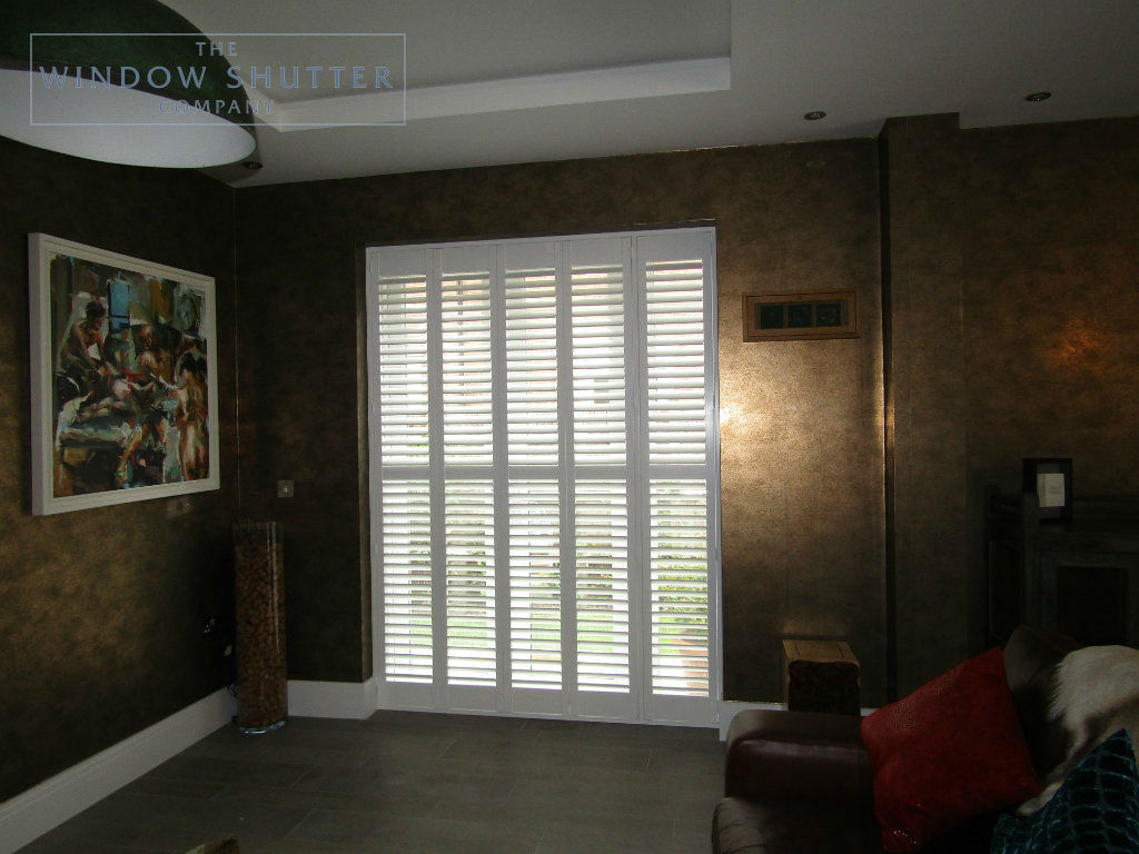Full height mid rail shutter Boston Premium Pure White 63mm hidden tilt patio door living room new build Kingswood 1 0717