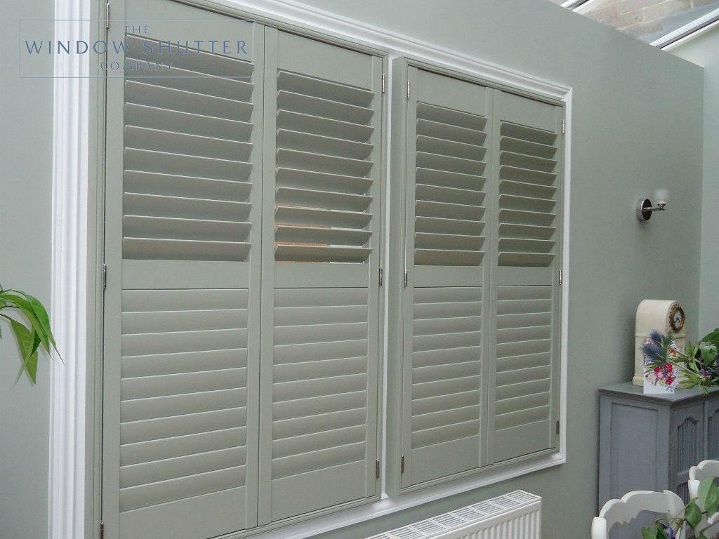 Full height blue grey shutter Georgia easy-tilt kitchen modern house Reigate Surrey 2 0114