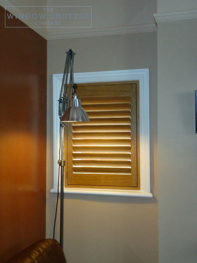 Full height golden rod shutter Phoenix easy-tilt living room modern house Reigate Surrey 1 0114