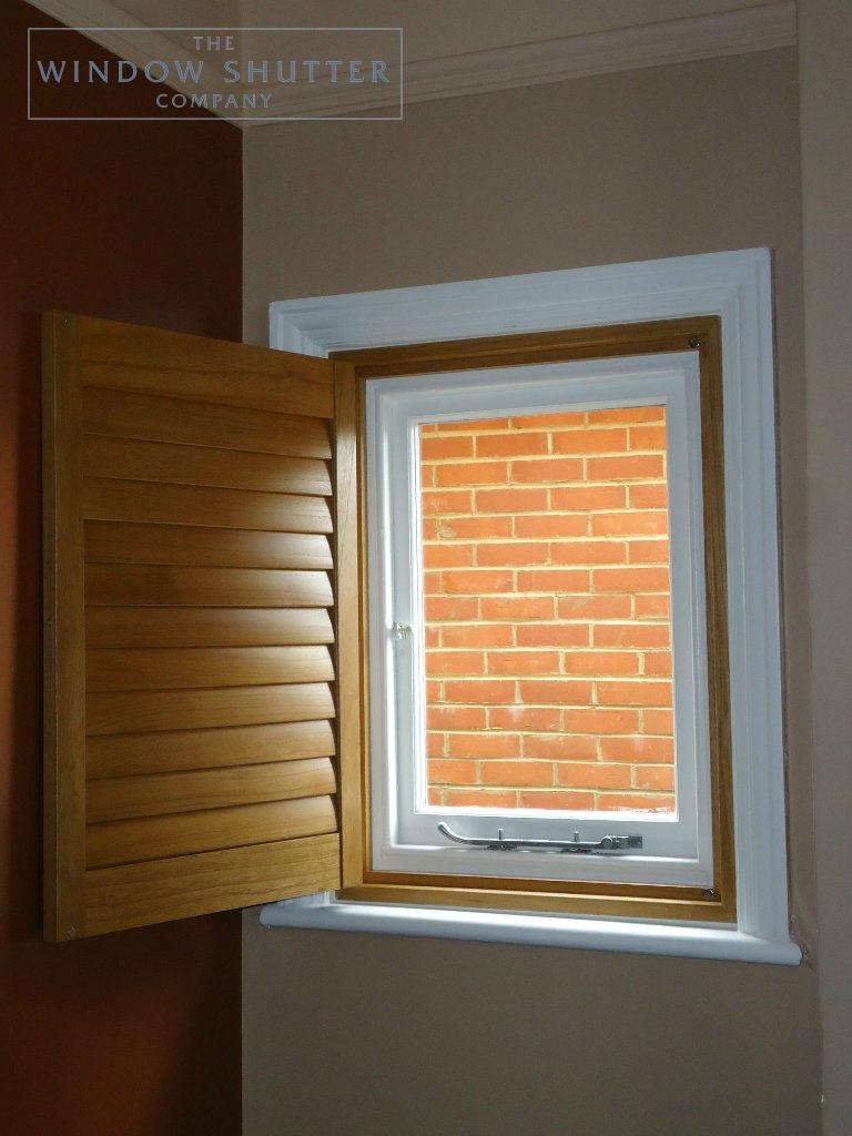 Full height golden rod shutter Phoenix easy-tilt living room modern house Reigate Surrey 2 0114