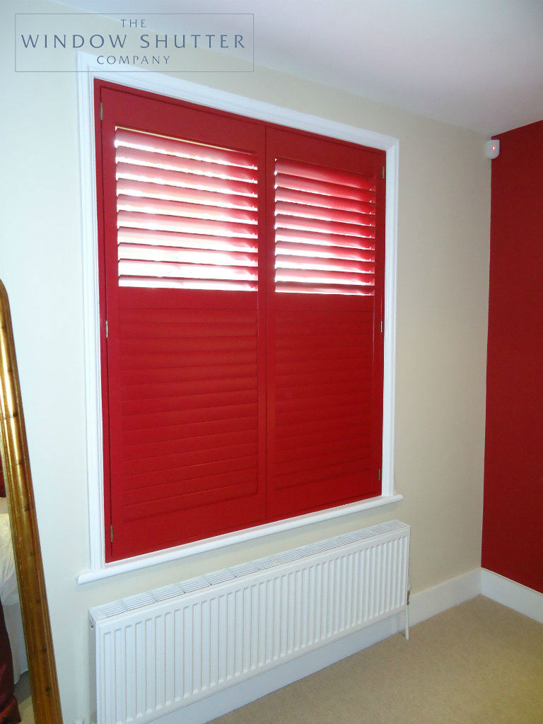 Full height red shutter Carolina easy-tilt master bedroom modern house Reigate Surrey 1 0114