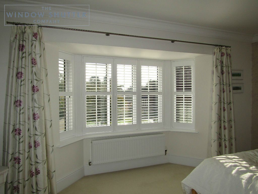 Full height shutter Seattle hidden tilt bay window bedroom Maresfield, East Sussex, with curtains 2