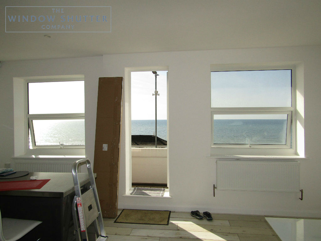 Full height shutter Seattle hidden tilt kitchen seafront apartment St Leonards-on-Sea, East Sussex before